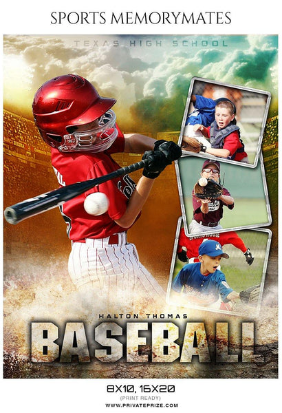 Halton Thomas - Baseball Memory Mate Photography Template - Photography Photoshop Template
