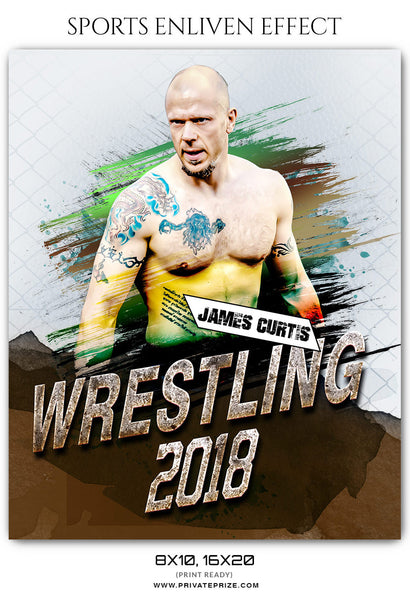 JAMES CURTIS WRESTLING- SPORTS ENLIVEN EFFECT - Photography Photoshop Template