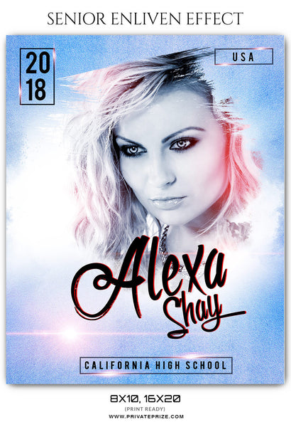 ALEXA SHAY - SENIOR ENLIVEN EFFECT - Photography Photoshop Template