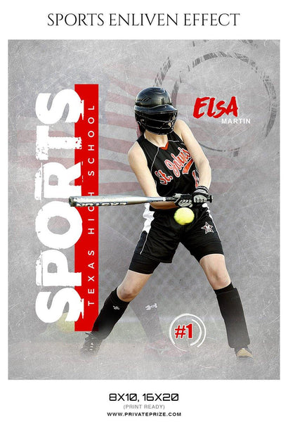 Elsa Martin - Softball Sports Enliven Effect Photography template