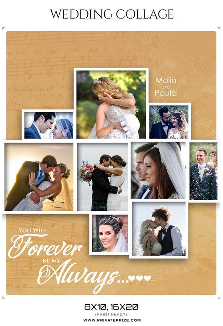 Malin and Paula - Wedding Collage - Photography Photoshop Template