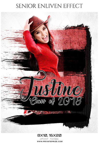 Justine  - Senior Enliven Effect Photography Template - Photography Photoshop Template