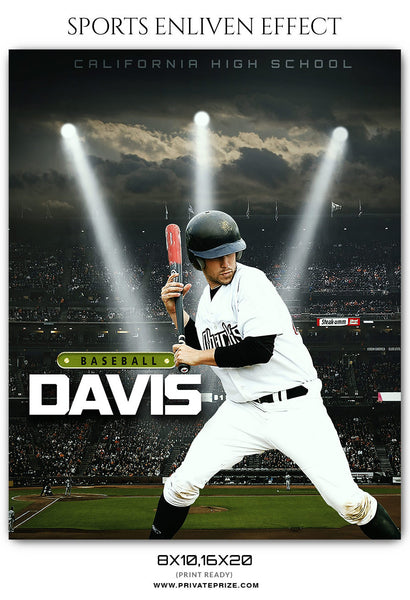 DAVIS BASEBALL- SPORTS ENLIVEN EFFECT - Photography Photoshop Template