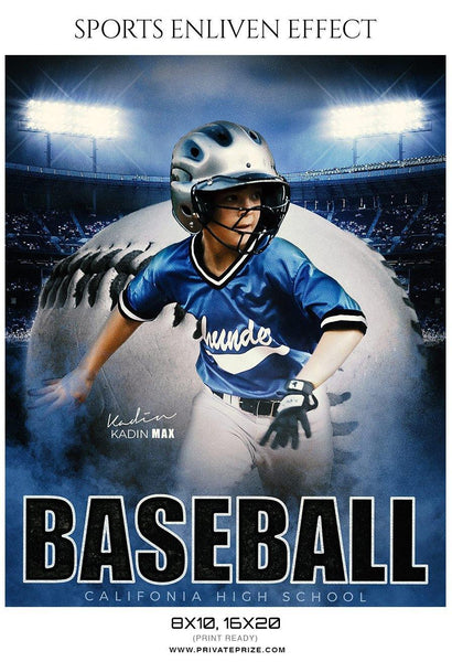 Kadin Max - Baseball Sports Enliven Effects Photography Template - Photography Photoshop Template