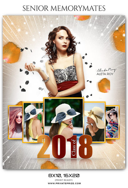 Aleta Roy Senior Memory Mates Photoshop Template - Photography Photoshop Template