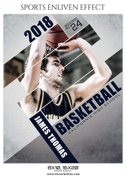 JAMES THOMAS BASKETBALL- SPORTS ENLIVEN EFFECT - Photography Photoshop Template
