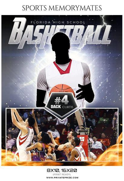 Dack Curtis - Basketball Sports Memory Mates Photography Template