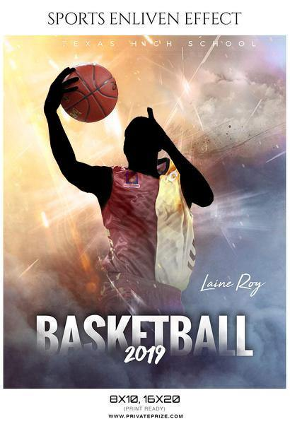 Laine Roy - Basketball Sports Enliven Effects Photography Template - Photography Photoshop Template