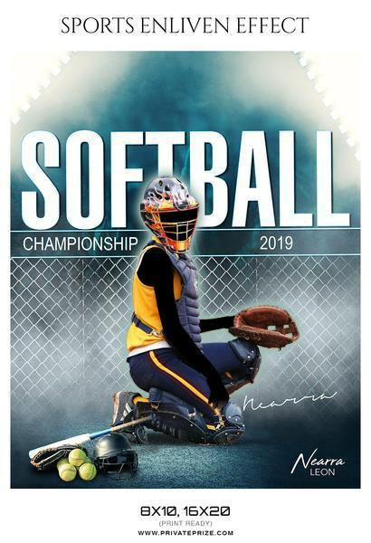 Nearra Leon - Softball - Sports Enliven Effect Photography template