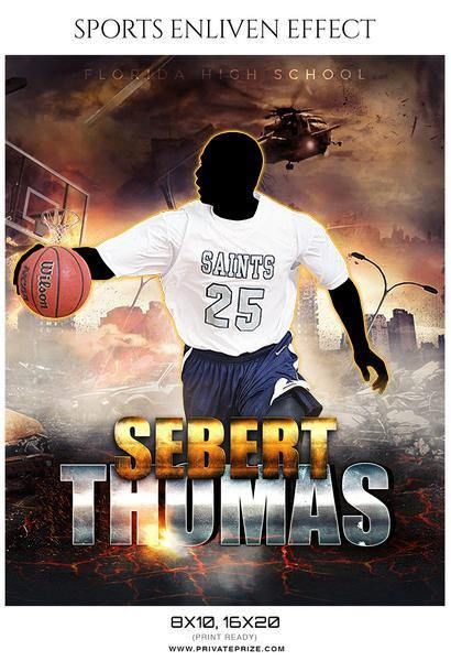 Sebert Thomas - Basketball Sports Enliven Effects Photography Template - Photography Photoshop Template
