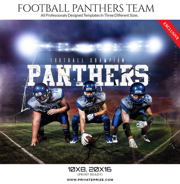 Panthers2017 Football Template -  Enliven Effects - Photography Photoshop Templates