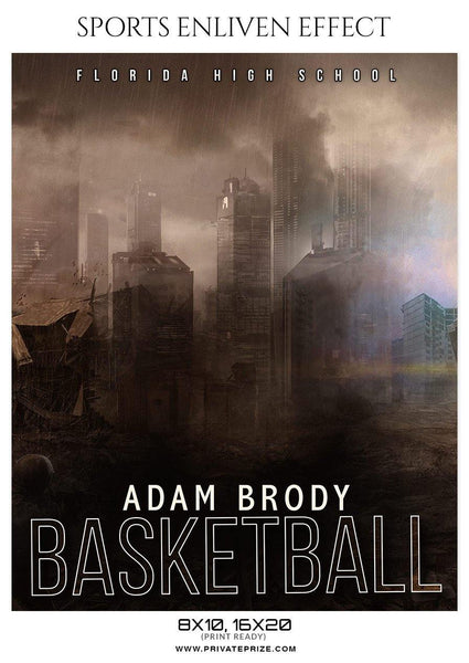 Adam Brody - Basketball Sports Enliven Effects Photography Template - Photography Photoshop Template