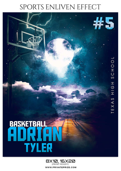 ADRIAN TYLER-BASKETBALL - SPORTS ENLIVEN EFFECT - Photography Photoshop Template