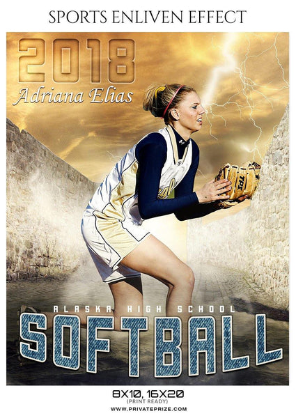Adriana Elias  - Softball Sports Enliven Effect Photography Template - Photography Photoshop Template