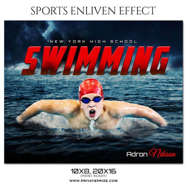 Adron Nikson Swimming - Sports Enliven Effect Photography Template - Photography Photoshop Template