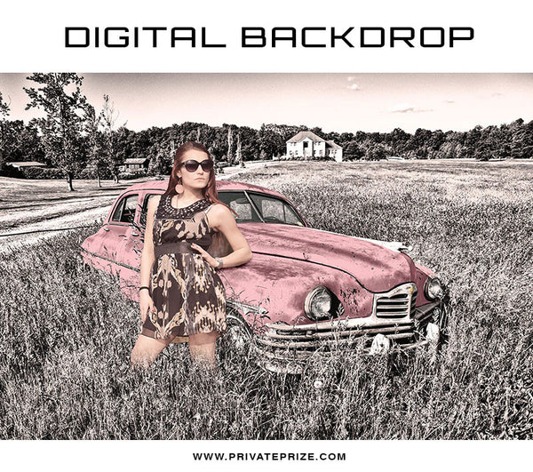 Digital Backdrop - Vintage Car - Photography Photoshop Template