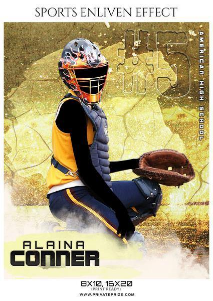 Alaina Conner - Softball Sports Enliven Effects Photography Template