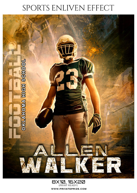 Allen Walker - Football Sports Enliven Effects Photoshop Template - Photography Photoshop Template