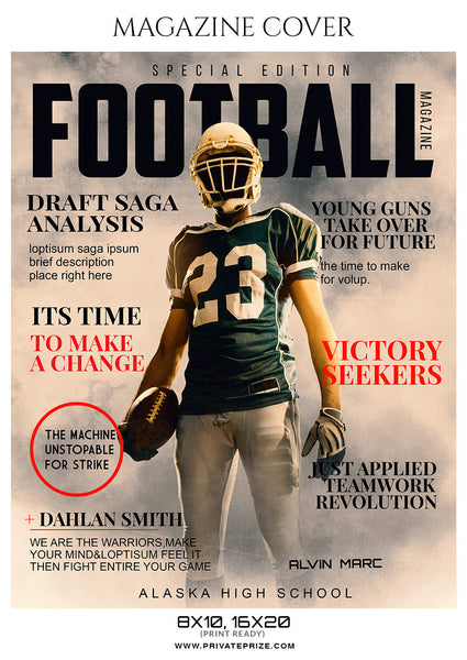 Alvin Marc Football Sports Photography Magazine Cover