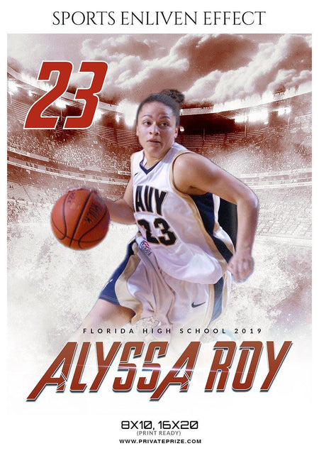 Alyssa Roy - Basketball Sports Enliven Effect Photography Template - Photography Photoshop Template