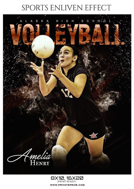 Amelia Henry - Volleyball Sports Enliven Effects Photography Template - Photography Photoshop Template