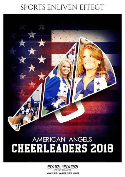 AMERICAN CHEERLEADERS - SPORTS ENLIVEN EFFECT - Photography Photoshop Template