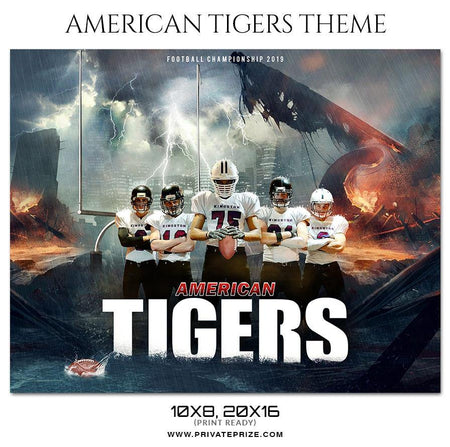 American Tigers - Football Themed Sports Photography Template - Photography Photoshop Template