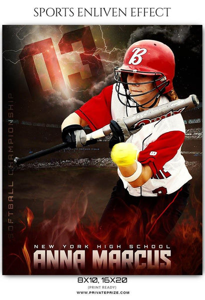 Anna Marcus - Softball Sports Enliven Effect Photography Template - Photography Photoshop Template