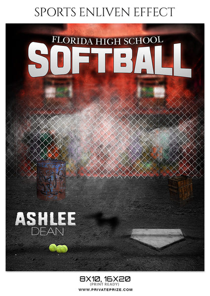 ASHLEE DEAN SOFTBALL SPORTS ENLIVEN EFFECT - Photography Photoshop Template