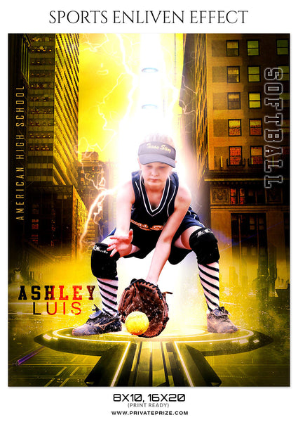 ASHLEY LUIS-SOFTBALL- SPORTS ENLIVEN EFFECT - Photography Photoshop Template