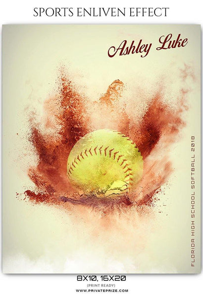 Ashley luke - Softball Sports Enliven Effects Photography Template - Photography Photoshop Template
