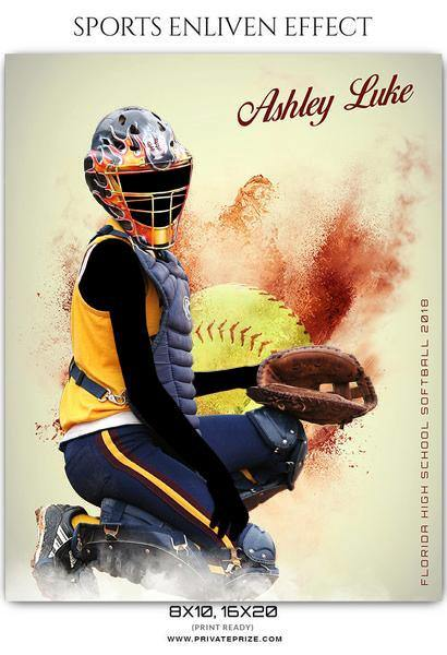 Ashley luke - Softball Sports Enliven Effects Photography Template