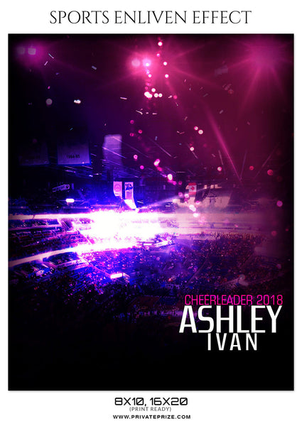 ASHLEY IVAN-CHEERLEADERS- SPORTS ENLIVEN EFFECT - Photography Photoshop Template