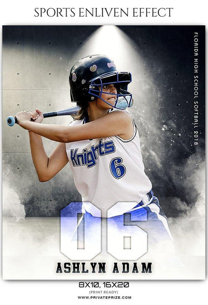 Ashlyn Adam - Softball Sports Enliven Effect Photography Template - Photography Photoshop Template