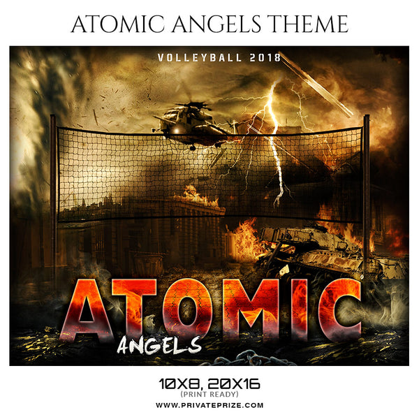 Atomic Angels Volleyball Themed Sports Photography Template - Photography Photoshop Template