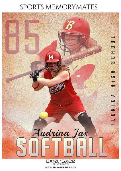Audrina Jax - Softball Sports Memory Mates Photography Template - Photography Photoshop Template