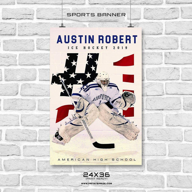 Austin Robert - Ice Hockey Sports Banner Photoshop Template