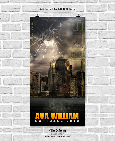 Ava William - Softball Sports Banner Photoshop Template - Photography Photoshop Template