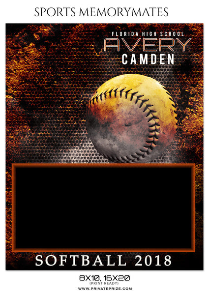 AVERY CAMDEN - SOFTBALL SPORTS MEMORY MATE - Photography Photoshop Template