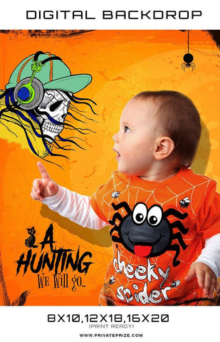 A Hunting - Baby Halloween Template Digital Background - Photography Photoshop Templates