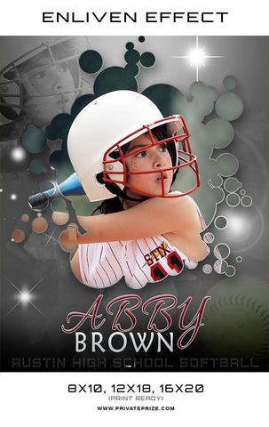 Abby Austin High School Softball Sports Template -  Enliven Effects - Photography Photoshop Templates