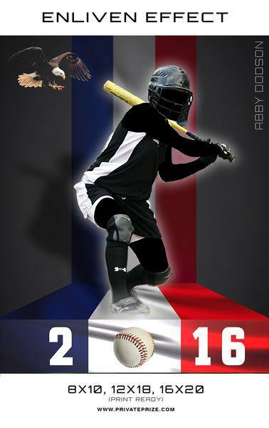 Abby Softball Sports Template -  Enliven Effects - PrivatePrize - Photography Templates