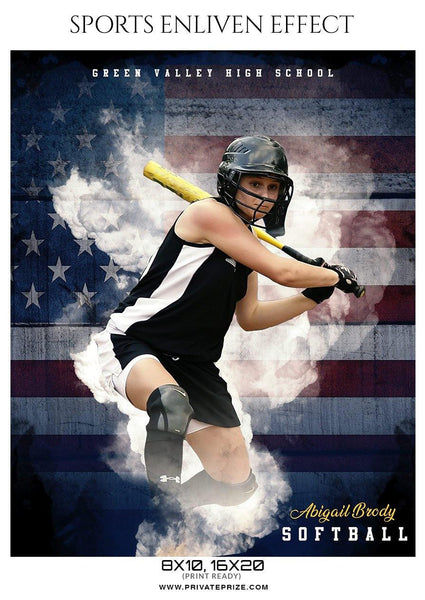 Abigail Brody - Softball Sports Enliven Effect Photography template