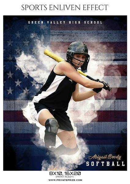 Sports Photography Photoshop Templates - softball