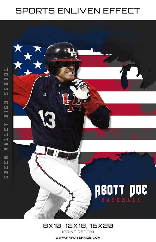 Abot Baseball USA Flag Sports Template -  Enliven Effects - Photography Photoshop Template