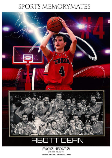 Abott dean - Basketball Sports Memory Mates Photography Template - Photography Photoshop Template