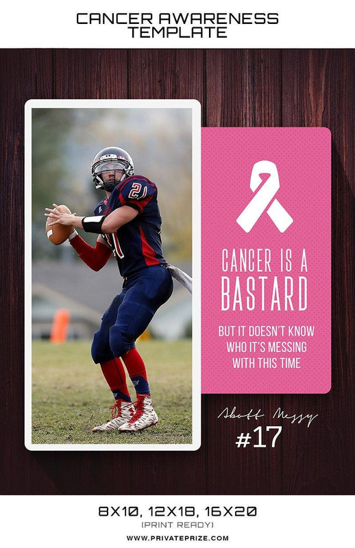 Abott Cancer Awareness Sports Template -  Enliven Effects - Photography Photoshop Templates