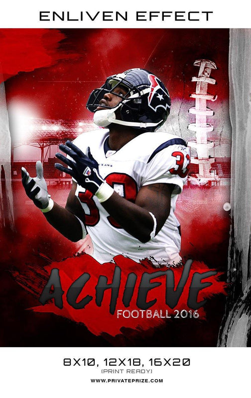 Achieve Football Sports Photography Template -  Enliven Effects - Photography Photoshop Templates