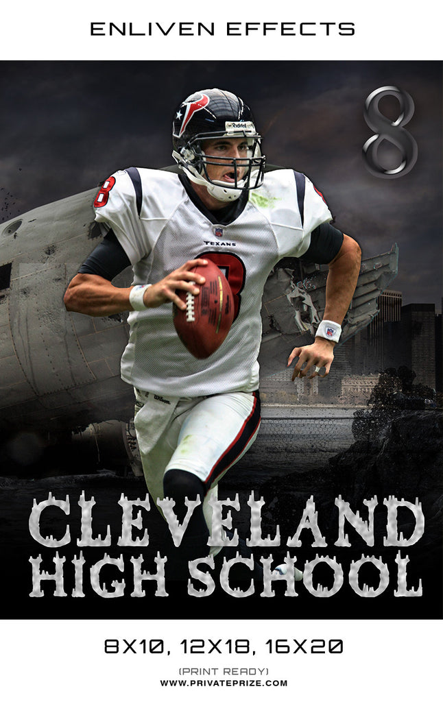 Football Cleveland High School Sports - Enliven Effects - Photography Photoshop Templates