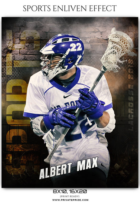 Albert Max- Lacrosse Sports Enliven Effects Photoshop Template - Photography Photoshop Template